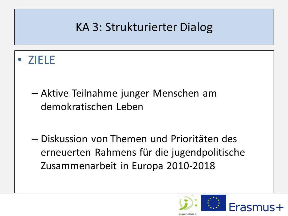KA 3: Strukturierter Dialog ZIELE – Aktive Teilnahme junger Menschen am demokratischen Leben – Diskussion von Themen und Prioritäten des erneuerten Rahmens für die jugendpolitische Zusammenarbeit in Europa 2010-2018