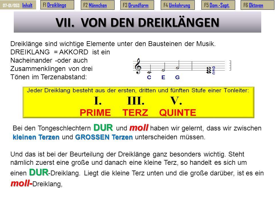 VII.VON DEN DREIKLÄNGEN Dreiklänge sind wichtige Elemente unter den Bausteinen der Musik.