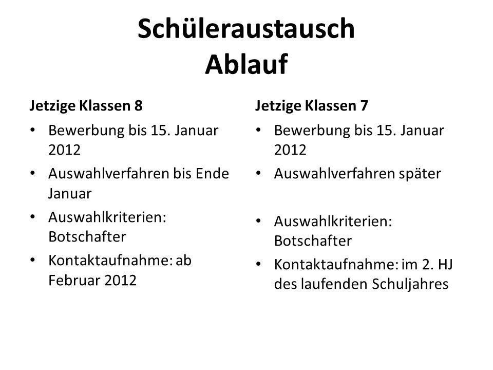 Schüleraustausch Ablauf Jetzige Klassen 8 Bewerbung bis 15. Januar 2012 Auswahlverfahren bis Ende Januar Auswahlkriterien: Botschafter Kontaktaufnahme