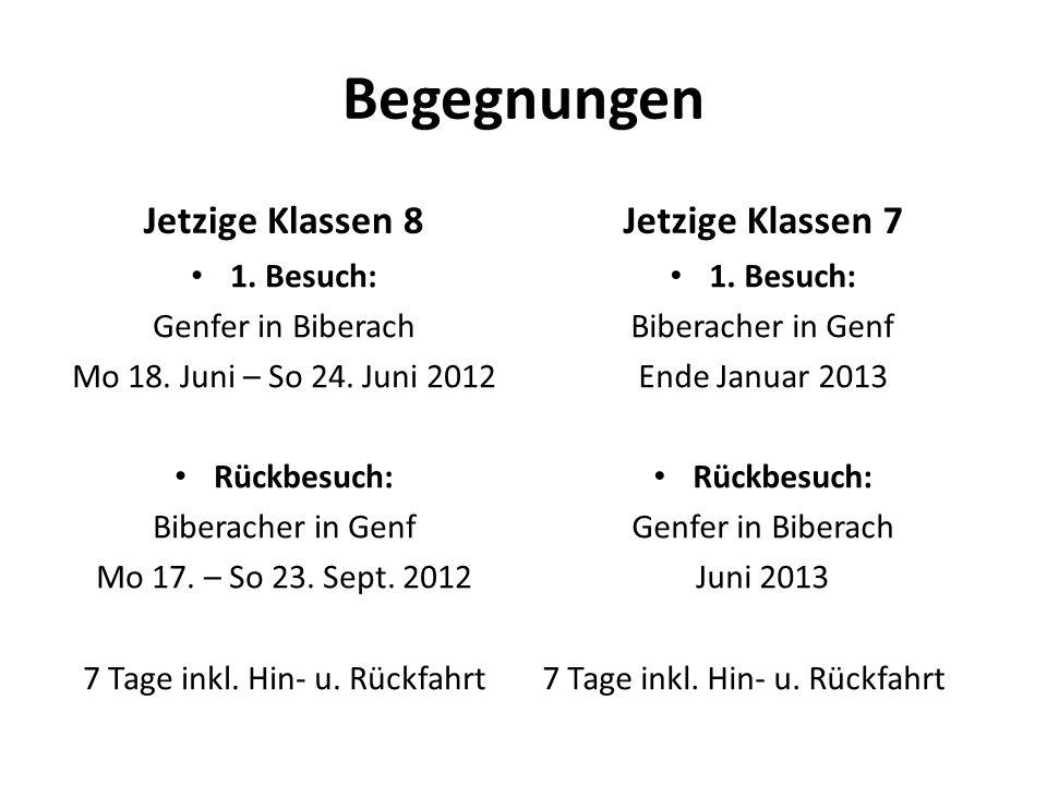 Begegnungen 1. Besuch: Genfer in Biberach Mo 18. Juni – So 24. Juni 2012 Rückbesuch: Biberacher in Genf Mo 17. – So 23. Sept. 2012 7 Tage inkl. Hin- u