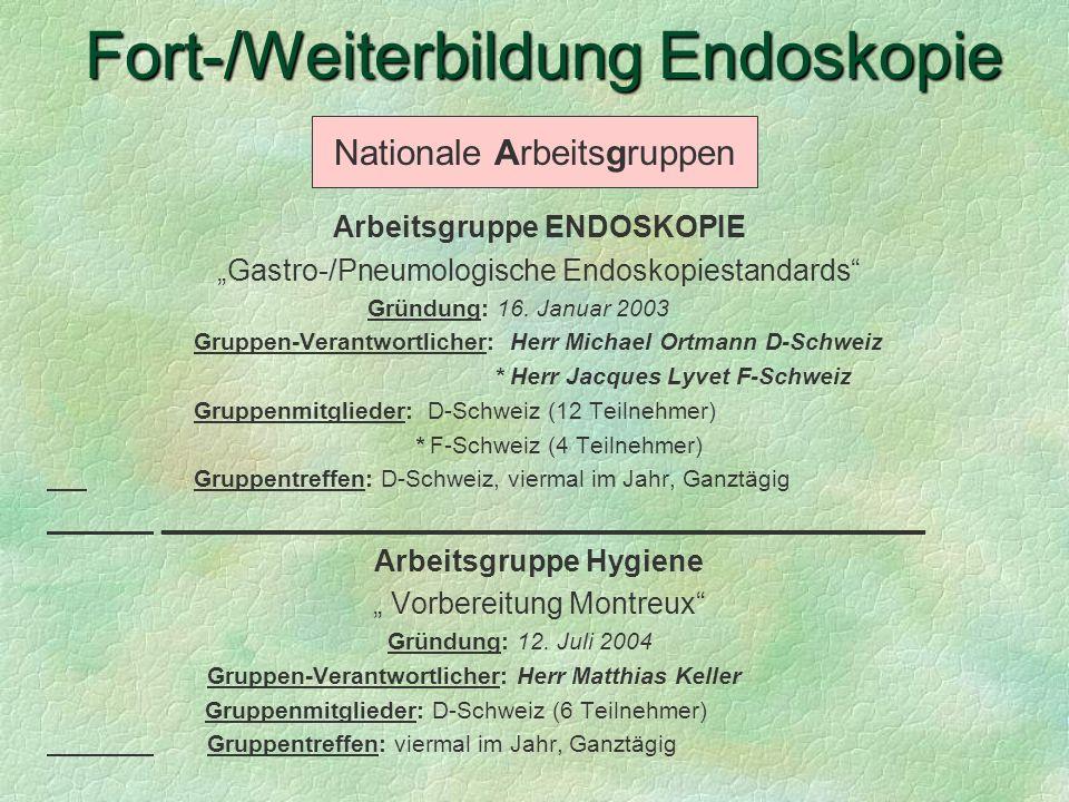 Arbeitsgruppe ENDOSKOPIE Gastro-/Pneumologische Endoskopiestandards Gründung: 16. Januar 2003 Gruppen-Verantwortlicher: Herr Michael Ortmann D-Schweiz
