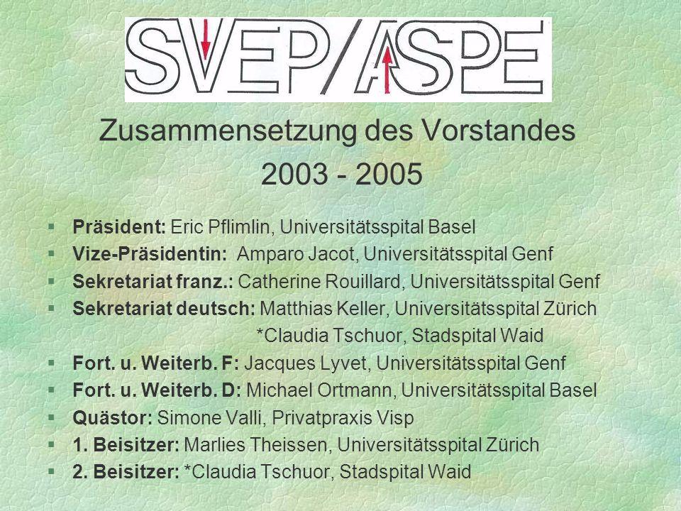 Zusammensetzung des Vorstandes 2003 - 2005 §Präsident: Eric Pflimlin, Universitätsspital Basel §Vize-Präsidentin: Amparo Jacot, Universitätsspital Gen