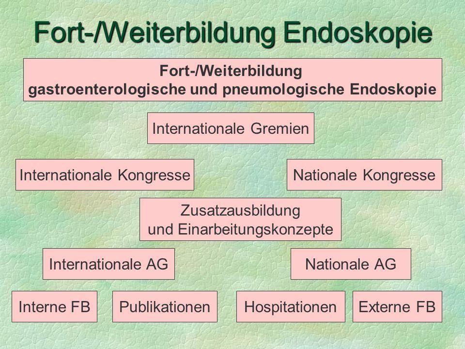 Fort-/Weiterbildung Endoskopie Publikationen Nationale KongresseInternationale Kongresse HospitationenExterne FBInterne FB Fort-/Weiterbildung gastroe