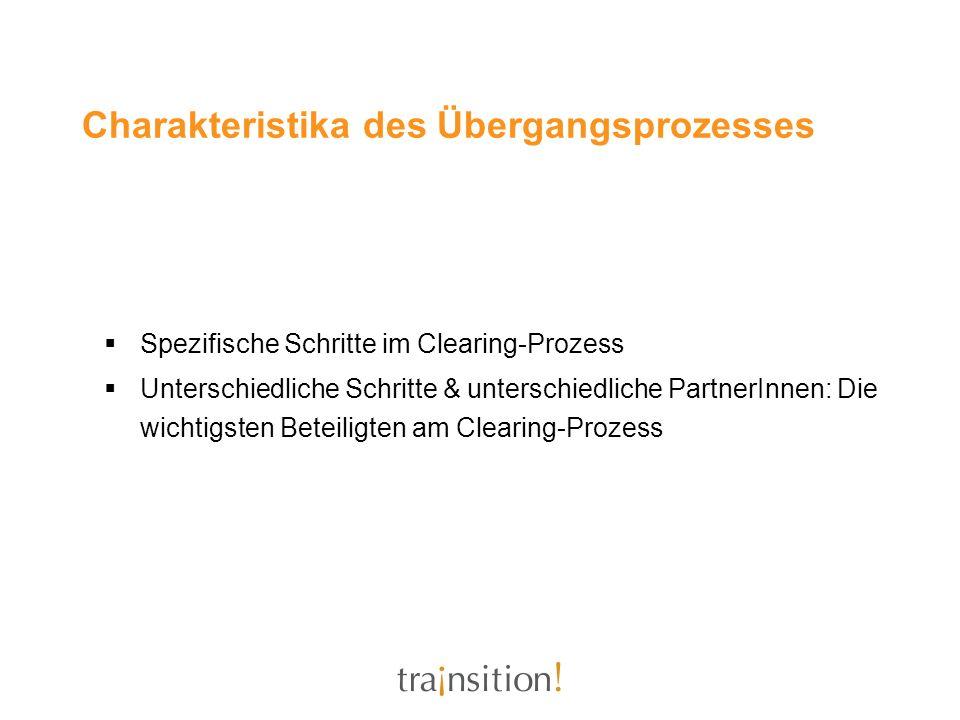 Charakteristika des Übergangsprozesses Spezifische Schritte im Clearing-Prozess Unterschiedliche Schritte & unterschiedliche PartnerInnen: Die wichtig