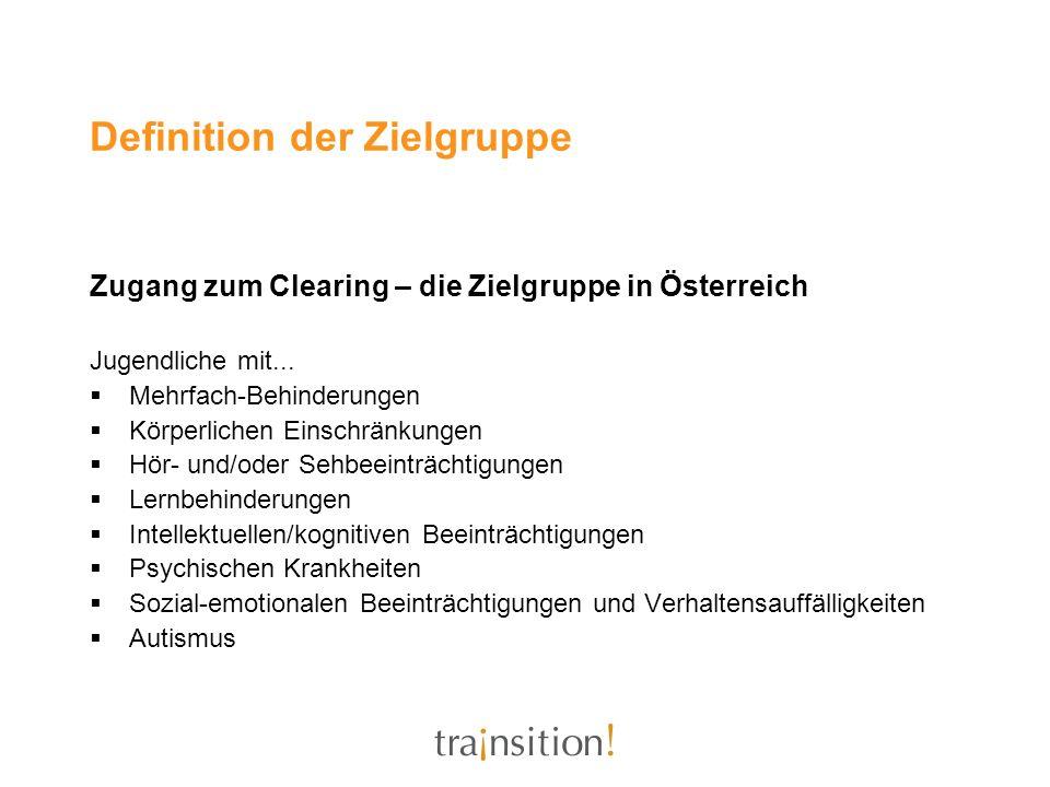 Definition der Zielgruppe Zugang zum Clearing – die Zielgruppe in Österreich Jugendliche mit... Mehrfach-Behinderungen Körperlichen Einschränkungen Hö