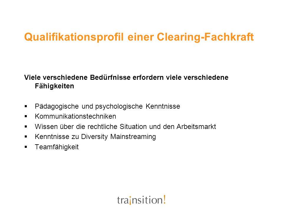 Qualifikationsprofil einer Clearing-Fachkraft Viele verschiedene Bedürfnisse erfordern viele verschiedene Fähigkeiten Pädagogische und psychologische