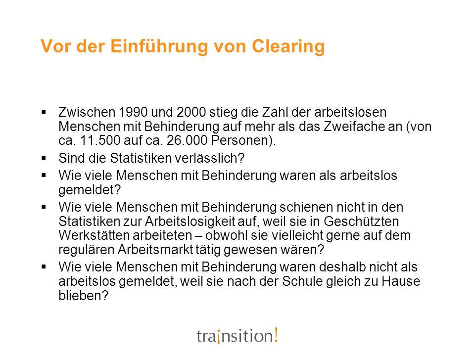 Vor der Einführung von Clearing Zwischen 1990 und 2000 stieg die Zahl der arbeitslosen Menschen mit Behinderung auf mehr als das Zweifache an (von ca.