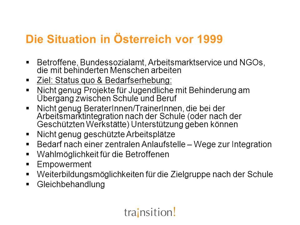 Die Situation in Österreich vor 1999 Betroffene, Bundessozialamt, Arbeitsmarktservice und NGOs, die mit behinderten Menschen arbeiten Ziel: Status quo