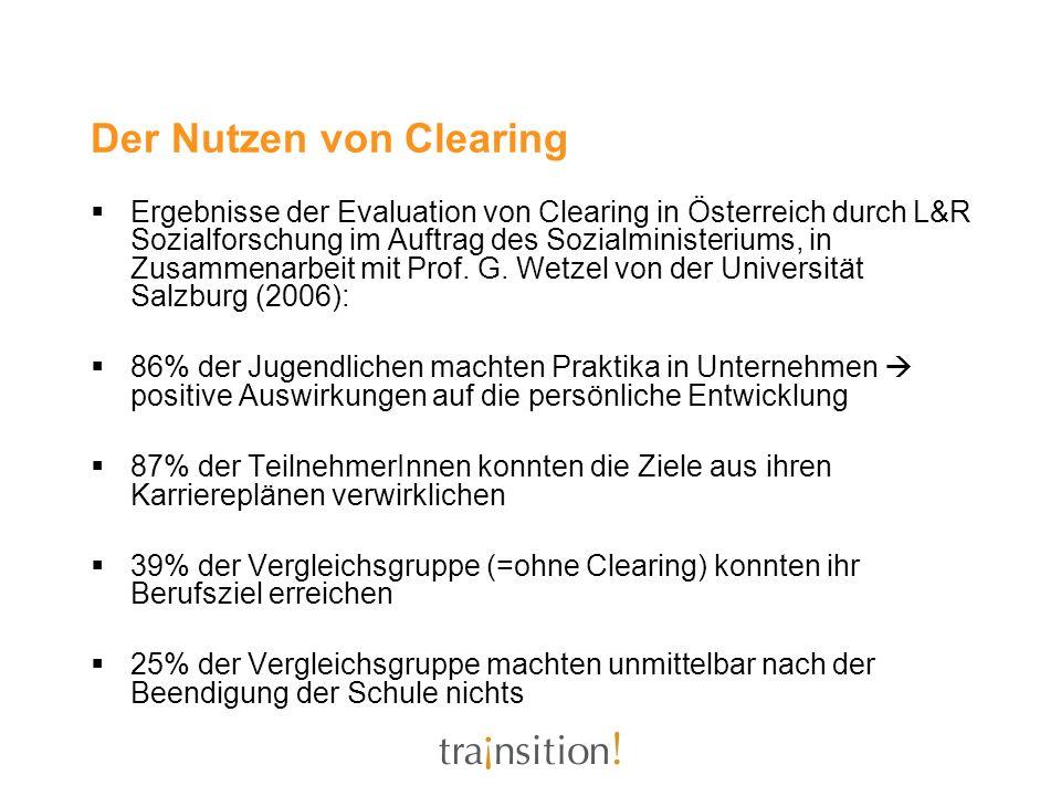 Der Nutzen von Clearing Ergebnisse der Evaluation von Clearing in Österreich durch L&R Sozialforschung im Auftrag des Sozialministeriums, in Zusammena