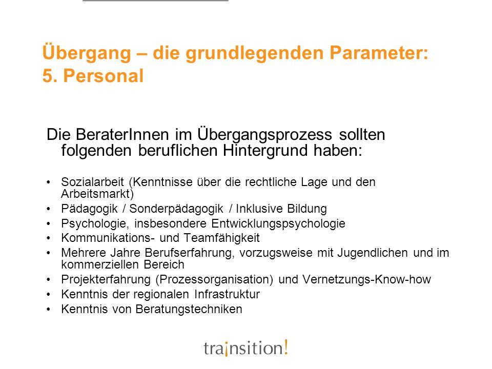 Übergang – die grundlegenden Parameter: 5. Personal Die BeraterInnen im Übergangsprozess sollten folgenden beruflichen Hintergrund haben: Sozialarbeit