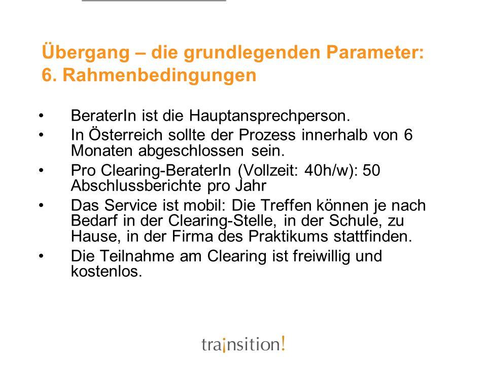 Übergang – die grundlegenden Parameter: 6. Rahmenbedingungen BeraterIn ist die Hauptansprechperson. In Österreich sollte der Prozess innerhalb von 6 M