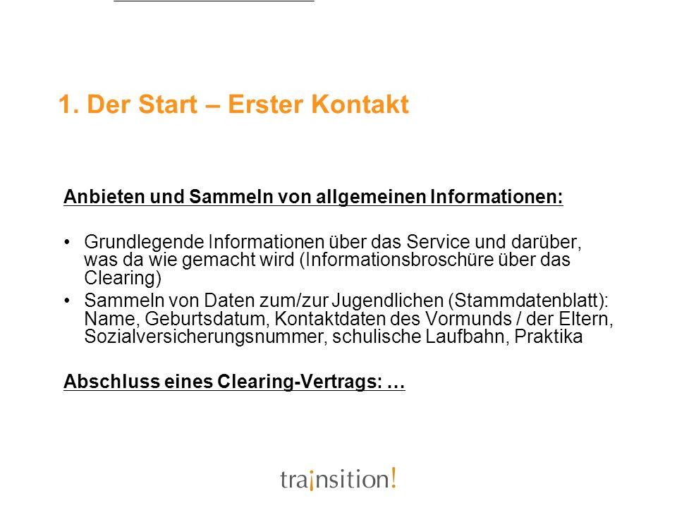 1. Der Start – Erster Kontakt Anbieten und Sammeln von allgemeinen Informationen: Grundlegende Informationen über das Service und darüber, was da wie