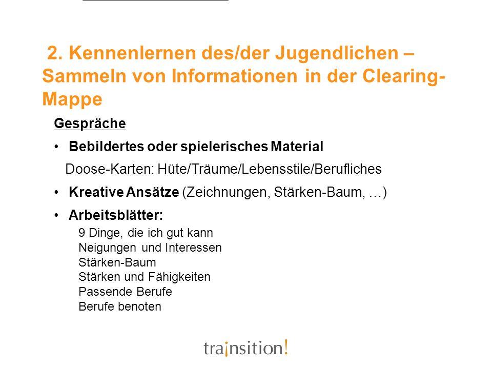 2. Kennenlernen des/der Jugendlichen – Sammeln von Informationen in der Clearing- Mappe Gespräche Bebildertes oder spielerisches Material Doose-Karten