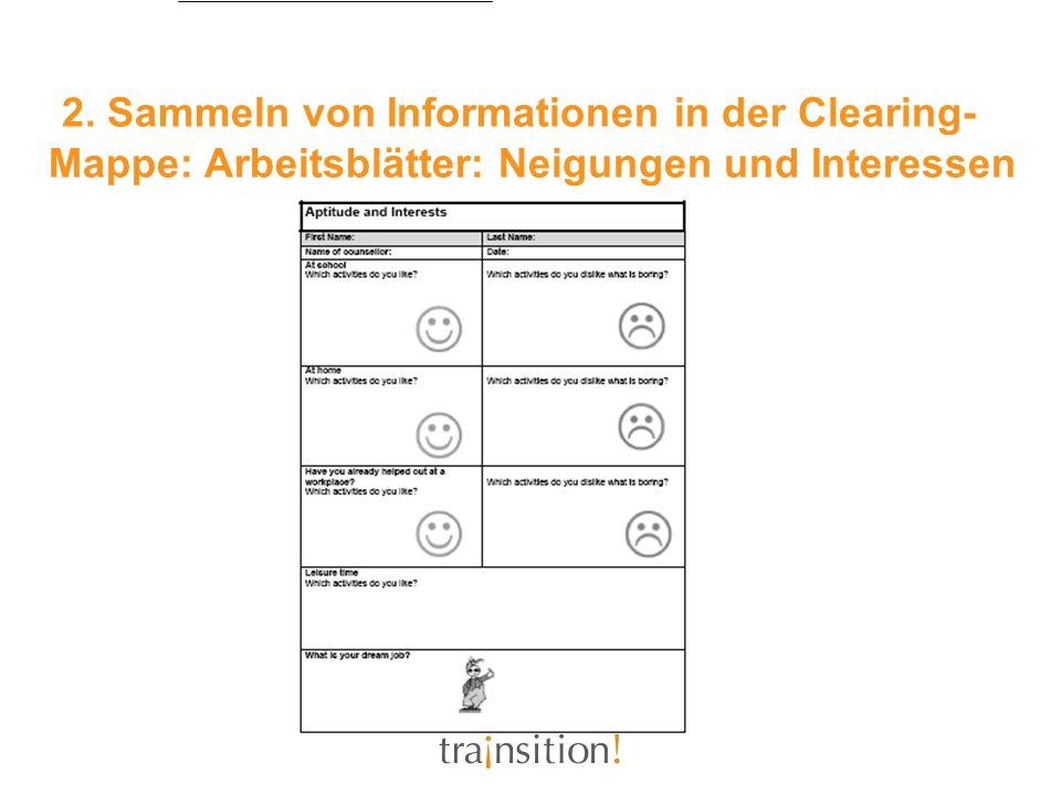 2. Sammeln von Informationen in der Clearing- Mappe: Arbeitsblätter: Neigungen und Interessen