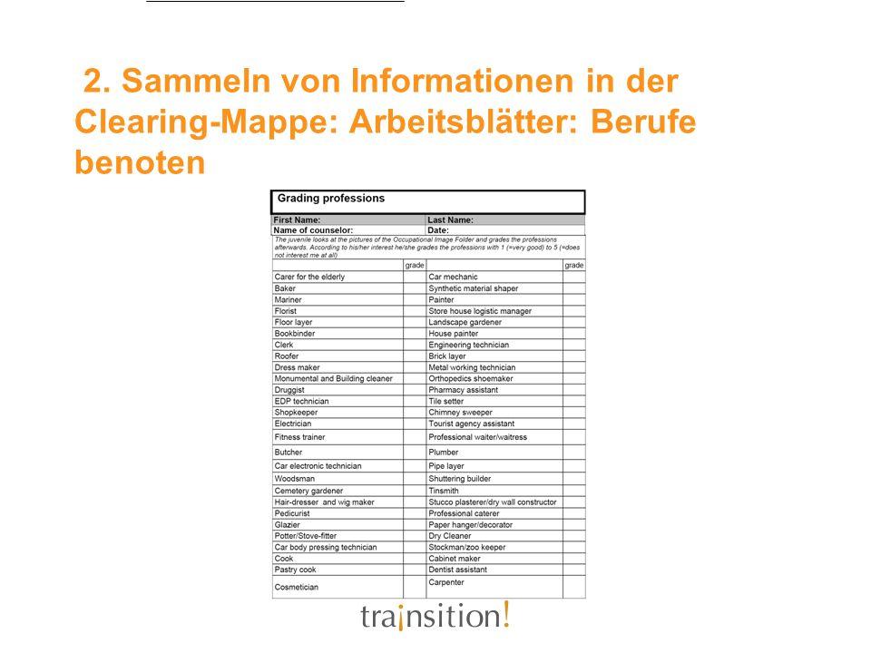 2. Sammeln von Informationen in der Clearing-Mappe: Arbeitsblätter: Berufe benoten