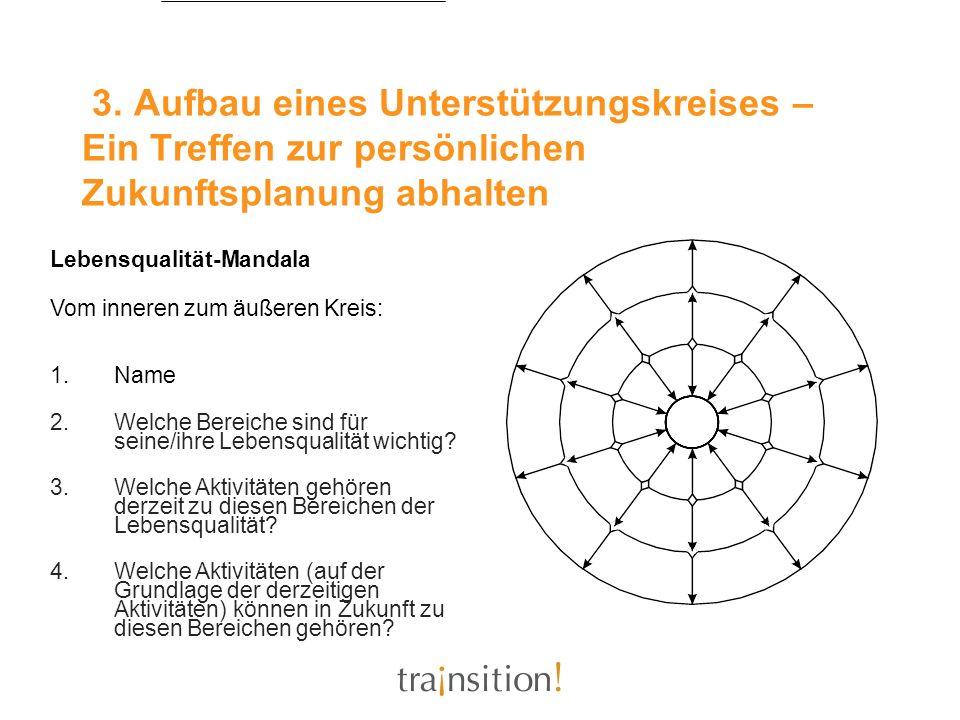 3. Aufbau eines Unterstützungskreises – Ein Treffen zur persönlichen Zukunftsplanung abhalten Lebensqualität-Mandala Vom inneren zum äußeren Kreis: 1.