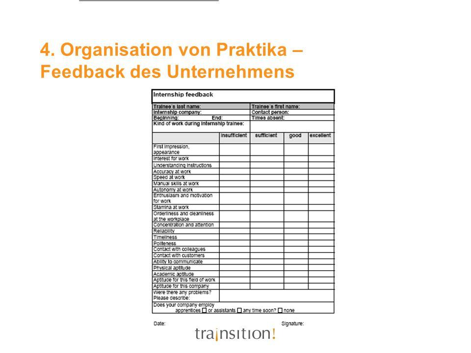 4. Organisation von Praktika – Feedback des Unternehmens