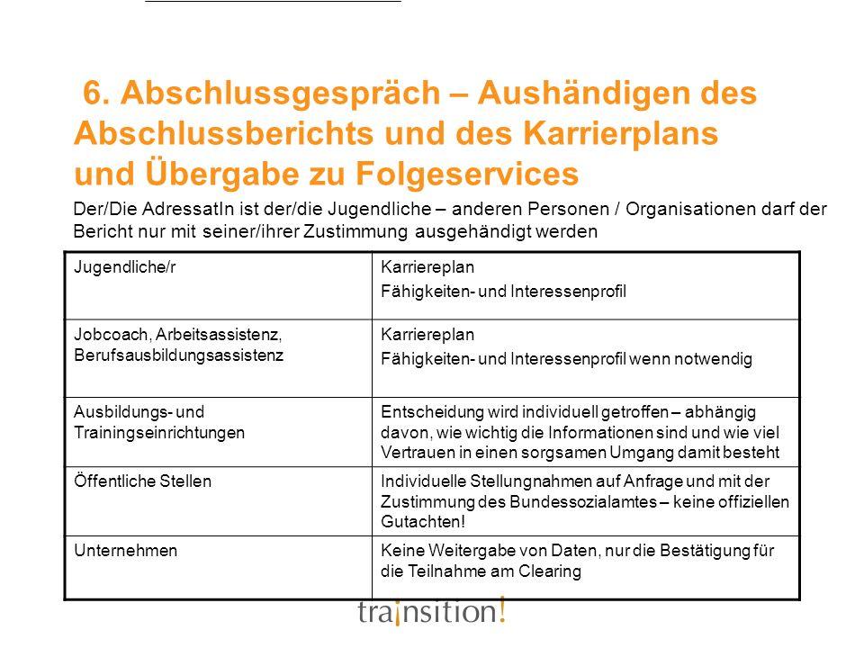 6. Abschlussgespräch – Aushändigen des Abschlussberichts und des Karrierplans und Übergabe zu Folgeservices Jugendliche/rKarriereplan Fähigkeiten- und