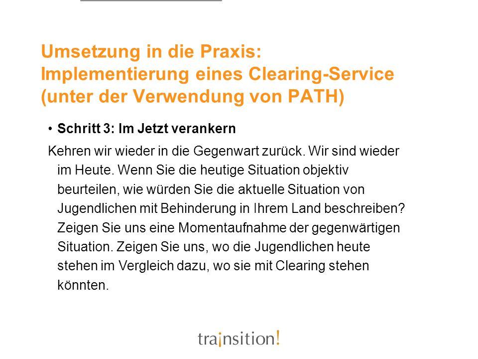 Umsetzung in die Praxis: Implementierung eines Clearing-Service (unter der Verwendung von PATH) Schritt 3: Im Jetzt verankern Kehren wir wieder in die