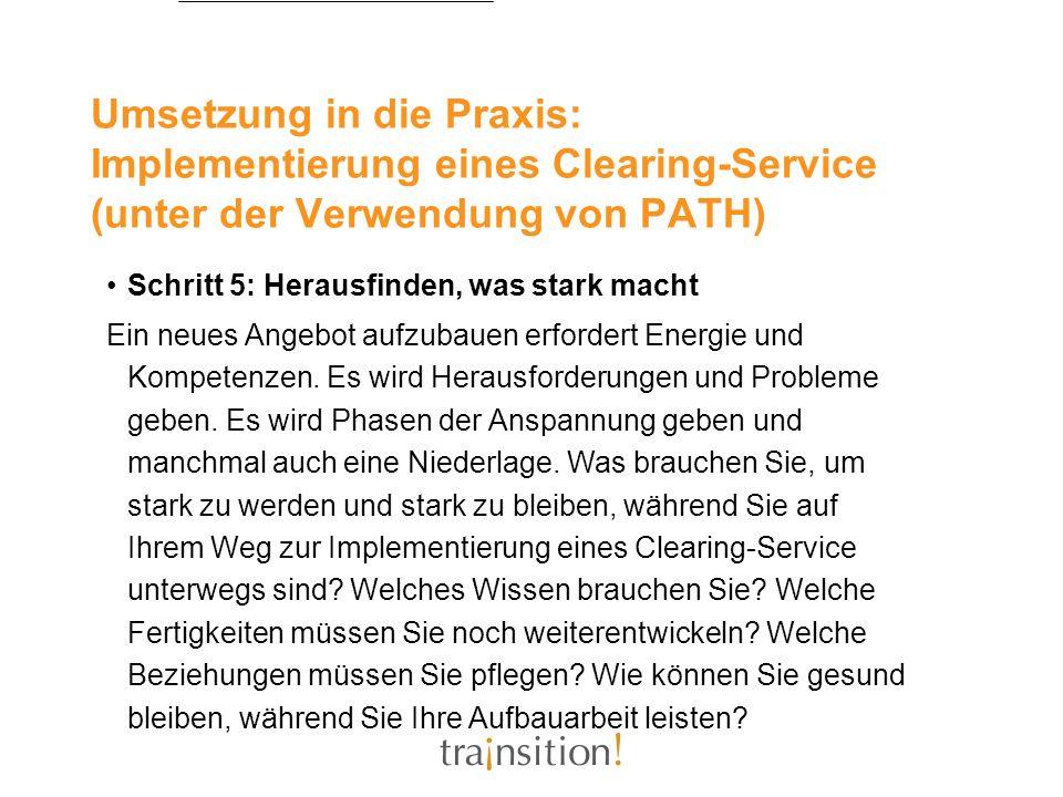 Umsetzung in die Praxis: Implementierung eines Clearing-Service (unter der Verwendung von PATH) Schritt 5: Herausfinden, was stark macht Ein neues Ang