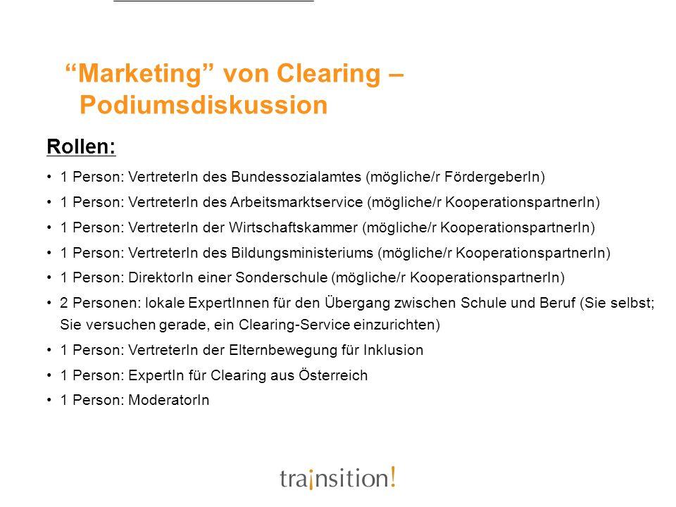 Marketing von Clearing – Podiumsdiskussion Rollen: 1 Person: VertreterIn des Bundessozialamtes (mögliche/r FördergeberIn) 1 Person: VertreterIn des Ar
