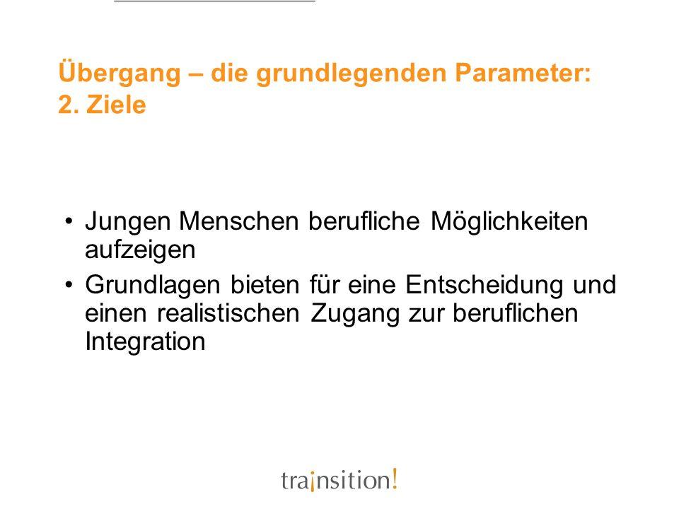 Übergang – die grundlegenden Parameter: 2. Ziele Jungen Menschen berufliche Möglichkeiten aufzeigen Grundlagen bieten für eine Entscheidung und einen