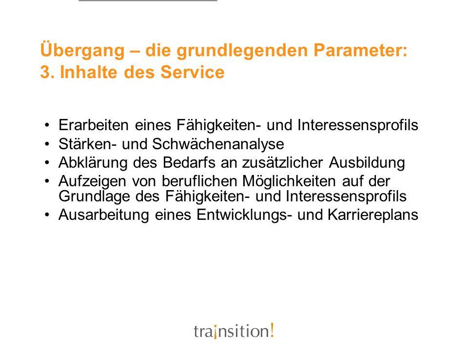 Übergang – die grundlegenden Parameter: 3. Inhalte des Service Erarbeiten eines Fähigkeiten- und Interessensprofils Stärken- und Schwächenanalyse Abkl