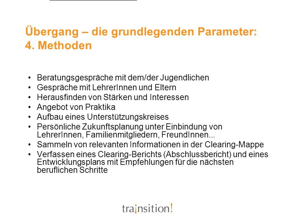 Übergang – die grundlegenden Parameter: 4. Methoden Beratungsgespräche mit dem/der Jugendlichen Gespräche mit LehrerInnen und Eltern Herausfinden von