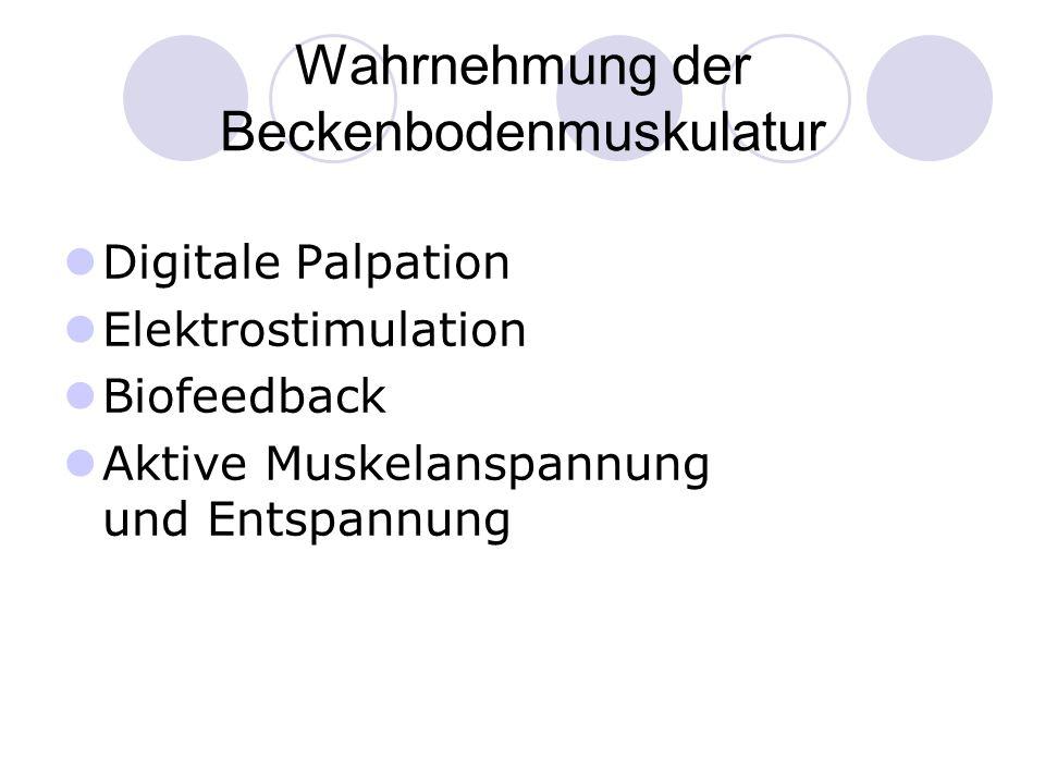 Digitale Palpation Elektrostimulation Biofeedback Aktive Muskelanspannung und Entspannung Wahrnehmung der Beckenbodenmuskulatur