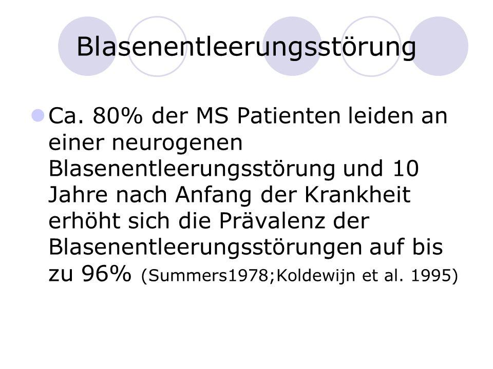 Blasenentleerungsstörung Ca. 80% der MS Patienten leiden an einer neurogenen Blasenentleerungsstörung und 10 Jahre nach Anfang der Krankheit erhöht si