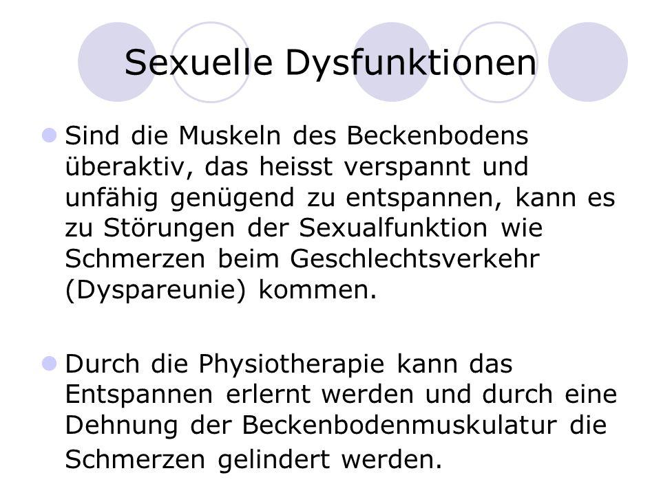 Sexuelle Dysfunktionen Sind die Muskeln des Beckenbodens überaktiv, das heisst verspannt und unfähig genügend zu entspannen, kann es zu Störungen der