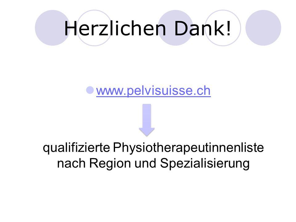 Herzlichen Dank! www.pelvisuisse.ch qualifizierte Physiotherapeutinnenliste nach Region und Spezialisierung