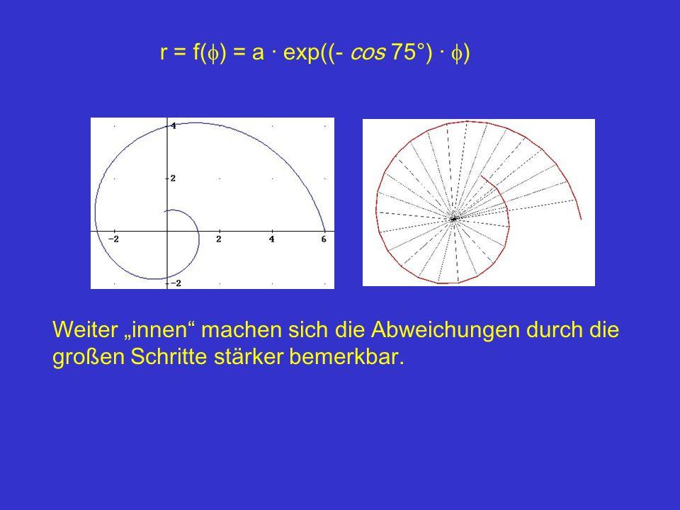 r = f( ) = a · exp((- cos 75°) · ) Weiter innen machen sich die Abweichungen durch die großen Schritte stärker bemerkbar.
