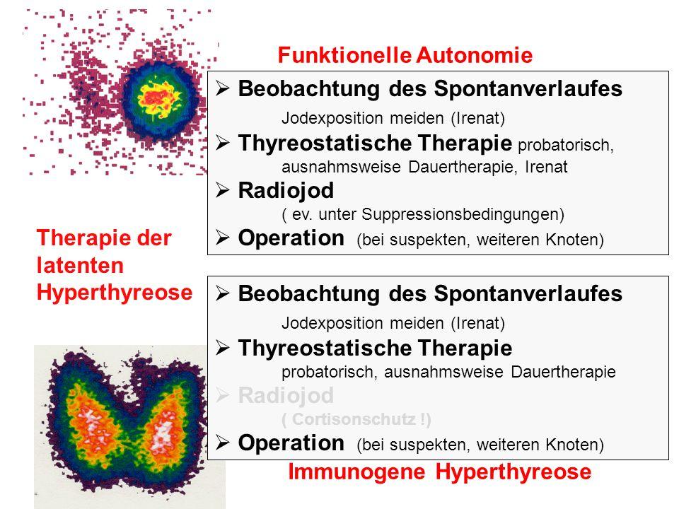 Funktionelle Autonomie Immunogene Hyperthyreose Beobachtung des Spontanverlaufes Jodexposition meiden (Irenatschutz vor CT….) Therapie der latenten Hyperthyreose keine Symptomatik TSH 0,1 – 0,5 mU/l