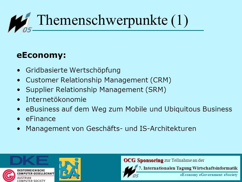 Themenschwerpunkte (1) eEconomy: Gridbasierte Wertschöpfung Customer Relationship Management (CRM) Supplier Relationship Management (SRM) Internetökonomie eBusiness auf dem Weg zum Mobile und Ubiquitous Business eFinance Management von Geschäfts- und IS-Architekturen 7.