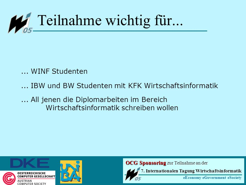 ... WINF Studenten... IBW und BW Studenten mit KFK Wirtschaftsinformatik...