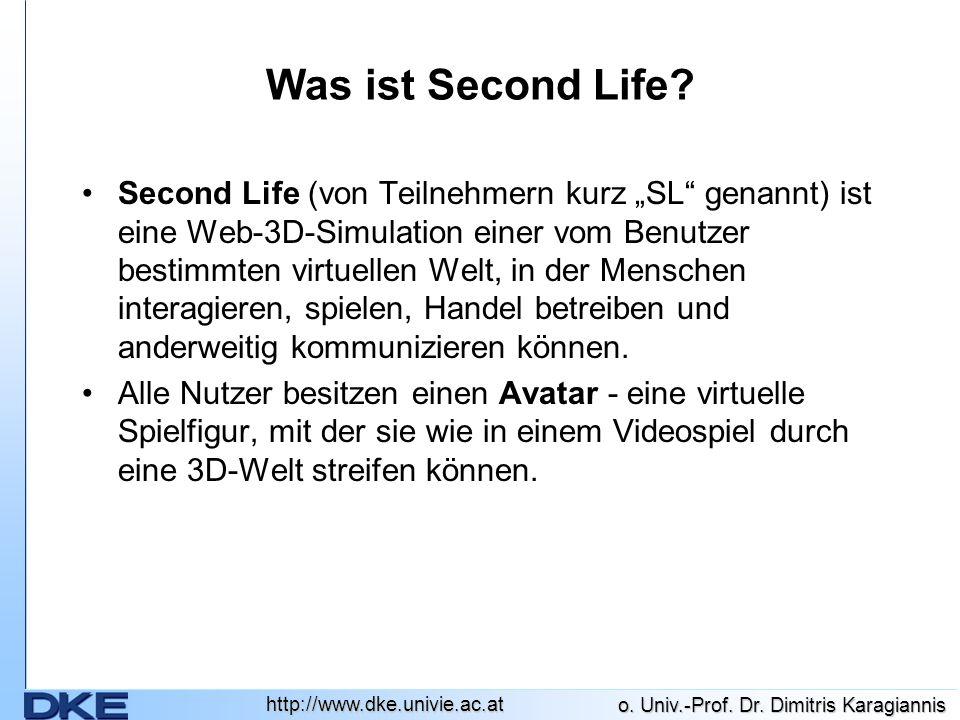 http://www.dke.univie.ac.at o.Univ.-Prof. Dr. Dimitris Karagiannis Was ist Second Life.