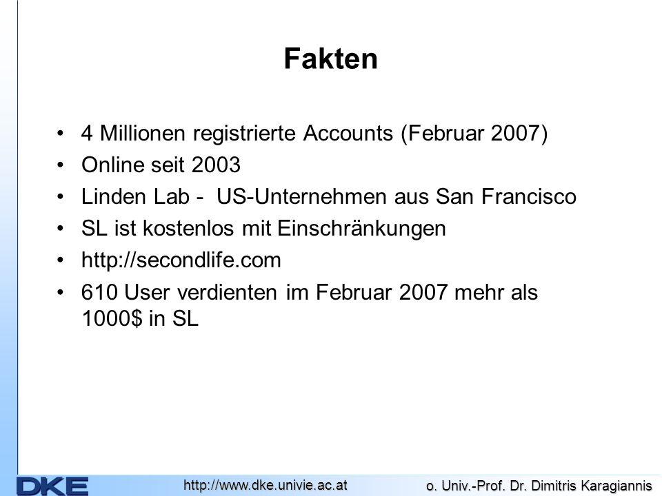 http://www.dke.univie.ac.at Fakten 4 Millionen registrierte Accounts (Februar 2007) Online seit 2003 Linden Lab - US-Unternehmen aus San Francisco SL ist kostenlos mit Einschränkungen http://secondlife.com 610 User verdienten im Februar 2007 mehr als 1000$ in SL