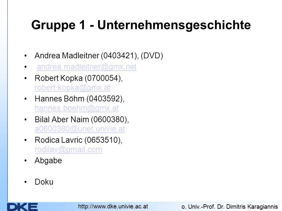 http://www.dke.univie.ac.at o. Univ.-Prof. Dr. Dimitris Karagiannis Gruppe 1 - Unternehmensgeschichte Andrea Madleitner (0403421), (DVD) andrea.madlei