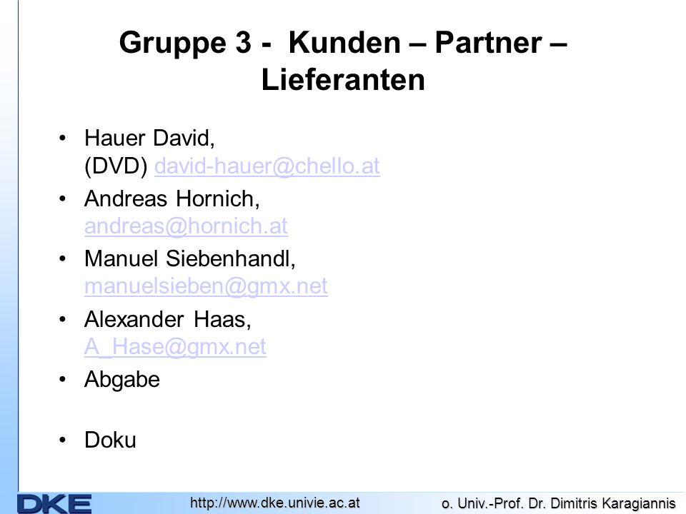 http://www.dke.univie.ac.at o. Univ.-Prof. Dr. Dimitris Karagiannis Gruppe 3 - Kunden – Partner – Lieferanten Hauer David, (DVD) david-hauer@chello.at