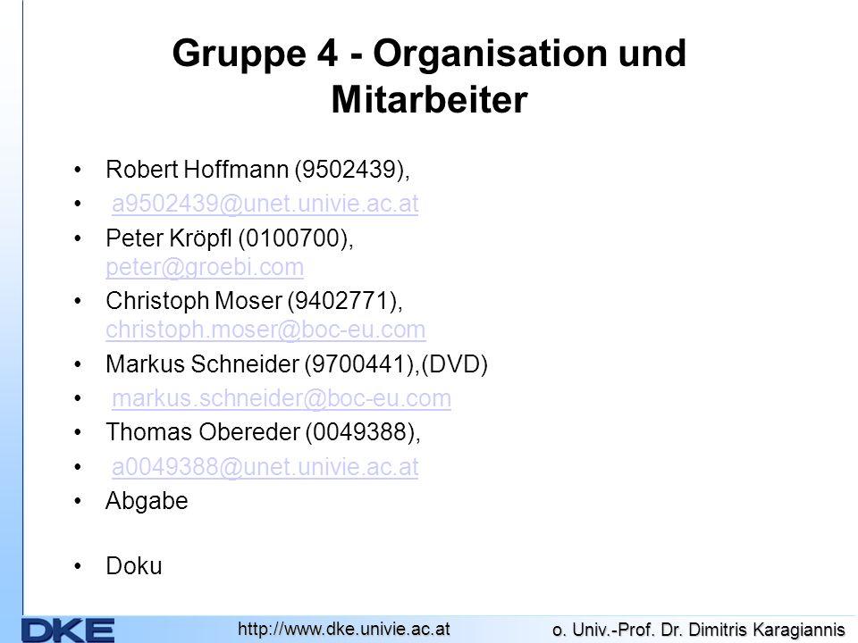 http://www.dke.univie.ac.at o. Univ.-Prof. Dr. Dimitris Karagiannis Gruppe 4 - Organisation und Mitarbeiter Robert Hoffmann (9502439), a9502439@unet.u