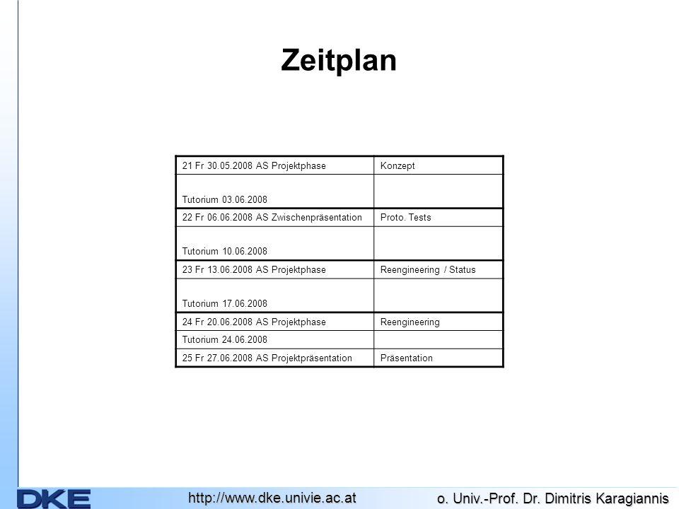 http://www.dke.univie.ac.at o. Univ.-Prof. Dr. Dimitris Karagiannis Zeitplan 21 Fr 30.05.2008 AS ProjektphaseKonzept Tutorium 03.06.2008 22 Fr 06.06.2
