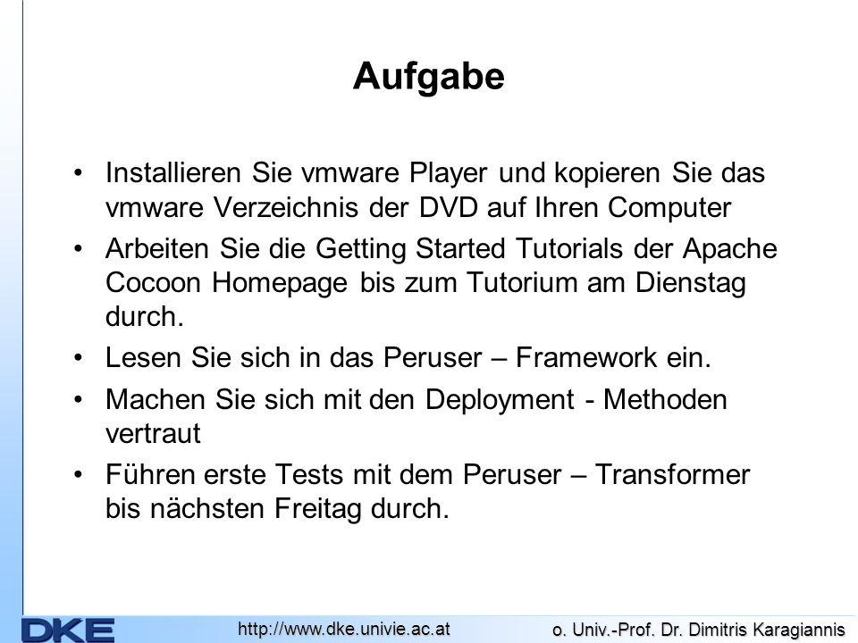 http://www.dke.univie.ac.at o. Univ.-Prof. Dr. Dimitris Karagiannis Aufgabe Installieren Sie vmware Player und kopieren Sie das vmware Verzeichnis der