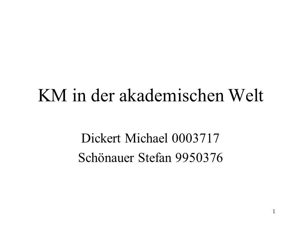 1 KM in der akademischen Welt Dickert Michael 0003717 Schönauer Stefan 9950376
