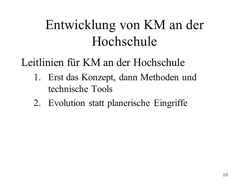 10 Entwicklung von KM an der Hochschule Leitlinien für KM an der Hochschule 1.Erst das Konzept, dann Methoden und technische Tools 2.Evolution statt p