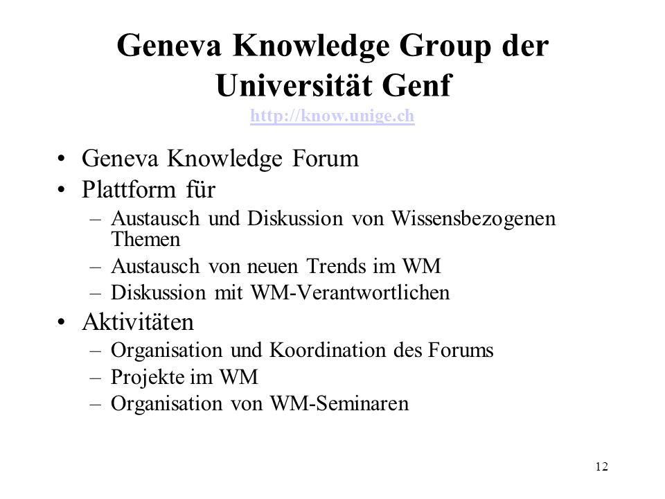 12 Geneva Knowledge Group der Universität Genf http://know.unige.ch http://know.unige.ch Geneva Knowledge Forum Plattform für –Austausch und Diskussio