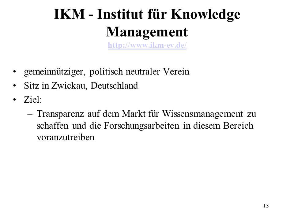 13 IKM - Institut für Knowledge Management http://www.ikm-ev.de/ http://www.ikm-ev.de/ gemeinnütziger, politisch neutraler Verein Sitz in Zwickau, Deu