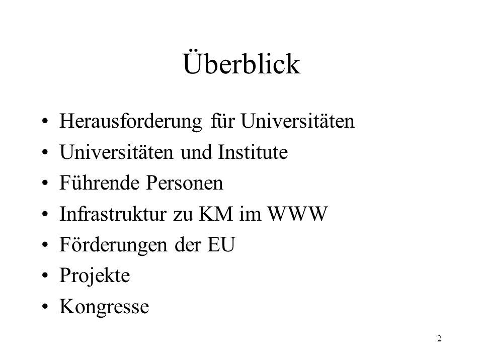 13 IKM - Institut für Knowledge Management http://www.ikm-ev.de/ http://www.ikm-ev.de/ gemeinnütziger, politisch neutraler Verein Sitz in Zwickau, Deutschland Ziel: –Transparenz auf dem Markt für Wissensmanagement zu schaffen und die Forschungsarbeiten in diesem Bereich voranzutreiben
