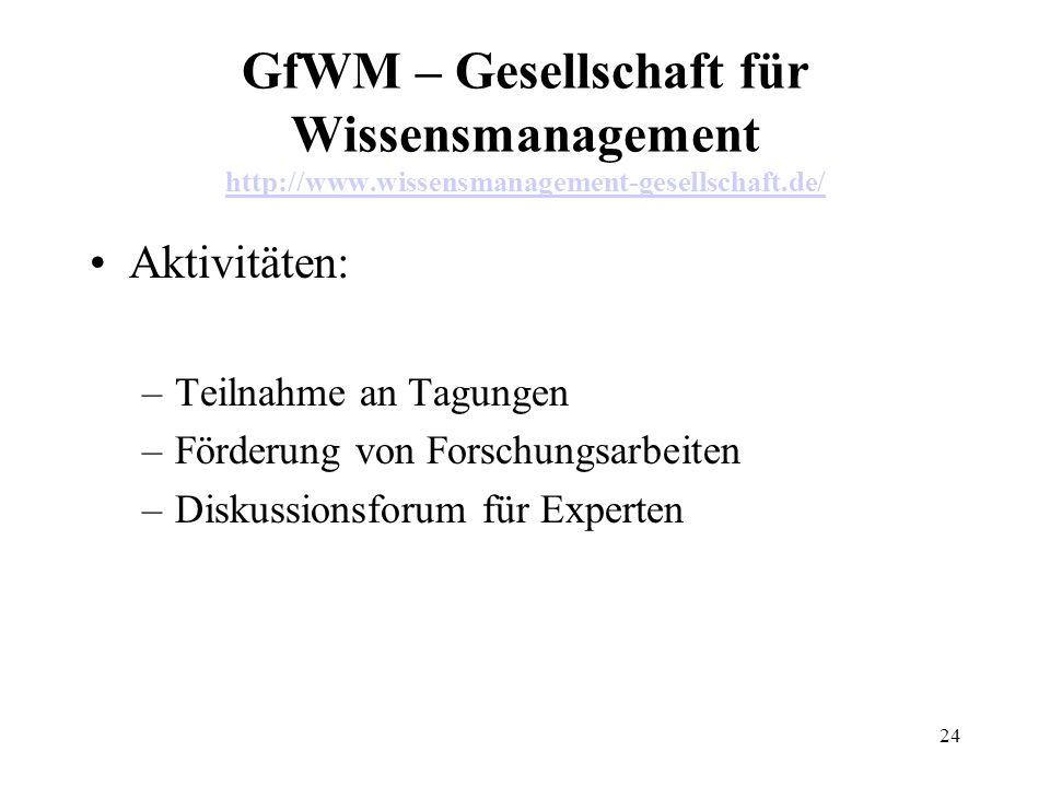 24 GfWM – Gesellschaft für Wissensmanagement http://www.wissensmanagement-gesellschaft.de/ http://www.wissensmanagement-gesellschaft.de/ Aktivitäten: