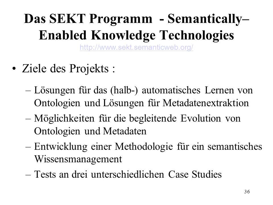 36 Das SEKT Programm - Semantically– Enabled Knowledge Technologies http://www.sekt.semanticweb.org/ http://www.sekt.semanticweb.org/ Ziele des Projek